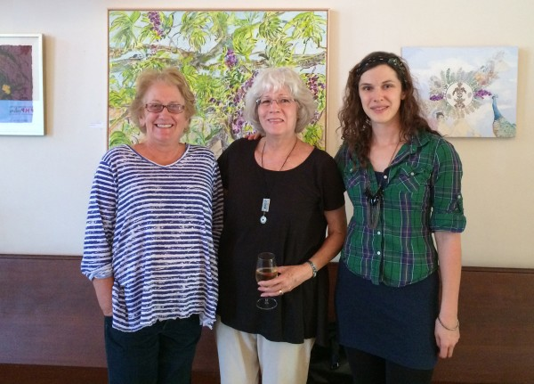 With Carol Puck Erickson-Lohnas and Rebecca Gomez and her painting at the Vino de Sueños art preview.